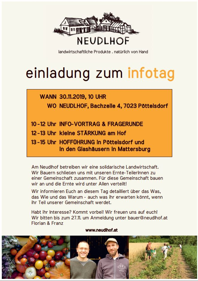 Neudlhof - Einladung Infotag